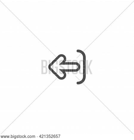 Exit Or Logout, Log Off Icon. Isolated On White. Black Line Rounded Right Arrow With Bracket. Sign O