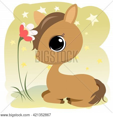 Little Cub Foal. Horse. Isolated Object On A White Background. Cheerful Kind Animal Child. Cartoons