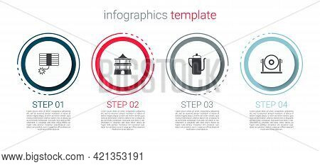 Set Firework, Chinese House, Tea Ceremony And Gong. Business Infographic Template. Vector