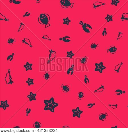 Set Starfish, Fish, Fishing Harpoon And Lobster Or Crab Claw On Seamless Pattern. Vector