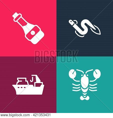 Set Pop Art Lobster, Fishing Boat, Eel Fish And Soy Sauce Bottle Icon. Vector