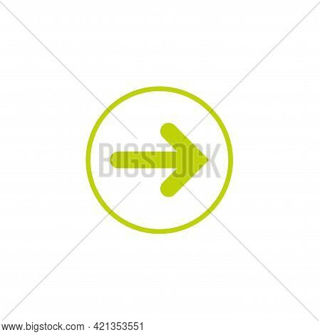 Green Right Arrow Icon. Isolated On White. Continue Icon. Next Sign. East Arrow.