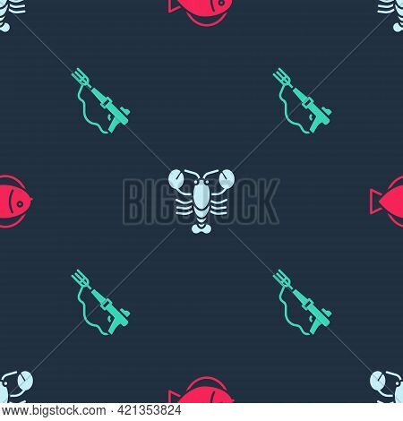 Set Fish, Lobster And Fishing Harpoon On Seamless Pattern. Vector