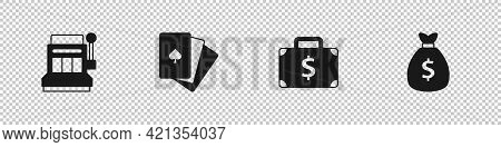 Set Slot Machine, Deck Of Playing Cards, Briefcase And Money And Money Bag Icon. Vector