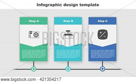 Set Photo Camera, Softbox Light And Exposure Compensation. Business Infographic Template. Vector