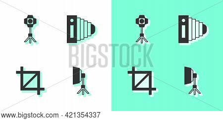 Set Softbox Light, , Picture Crop Photo And Photo Camera Icon. Vector