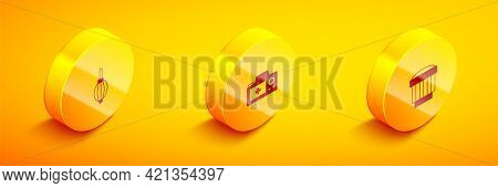 Set Isometric Dust Blower, Photo Camera And Camera Photo Lens Icon. Vector
