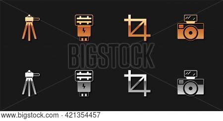 Set Tripod, Photo Camera Flash, Picture Crop Photo And With Icon. Vector