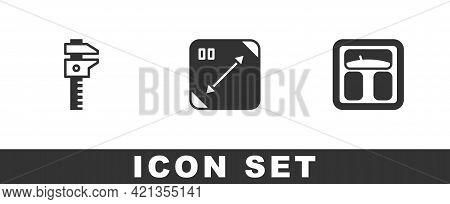 Set Calliper Or Caliper And Scale, Diagonal Measuring And Bathroom Scales Icon. Vector
