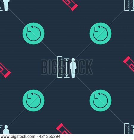 Set Construction Bubble Level, Measuring Height Body And Radius On Seamless Pattern. Vector