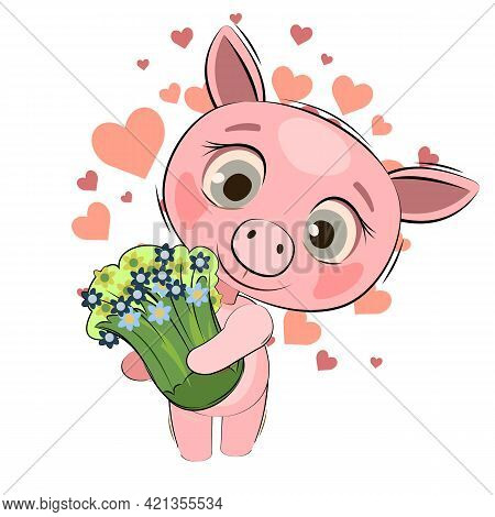Little Piglet Cub. Pig Isolated Object On White Background. Cheerful Kind Animal Child. Cartoons Fla