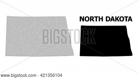 Polygonal Mesh Map Of North Dakota State In High Resolution. Mesh Lines, Triangles And Dots Form Map