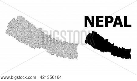 Polygonal Mesh Map Of Nepal In High Detail Resolution. Mesh Lines, Triangles And Dots Form Map Of Ne