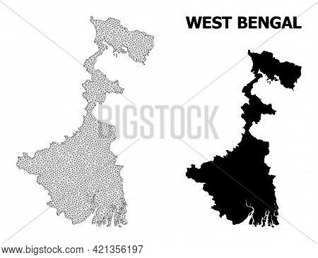 Polygonal Mesh Map Of West Bengal State In High Resolution. Mesh Lines, Triangles And Dots Form Map
