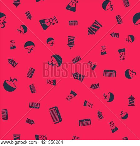 Set Hairbrush, Cream Cosmetic Tube, Washbasin And Barber Shop Pole On Seamless Pattern. Vector