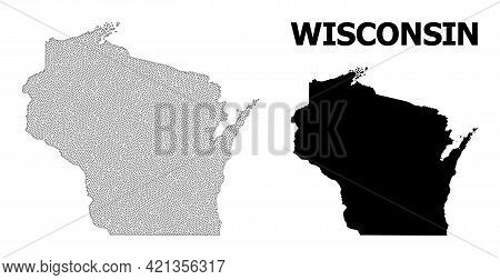 Polygonal Mesh Map Of Wisconsin State In High Detail Resolution. Mesh Lines, Triangles And Dots Form