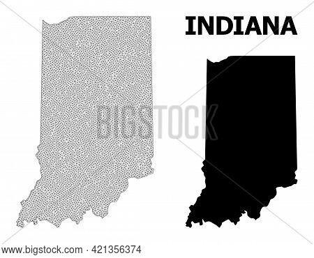 Polygonal Mesh Map Of Indiana State In High Resolution. Mesh Lines, Triangles And Points Form Map Of