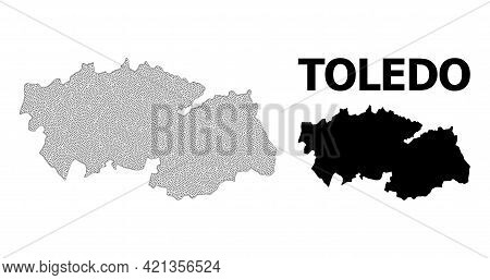 Polygonal Mesh Map Of Toledo Province In High Detail Resolution. Mesh Lines, Triangles And Dots Form