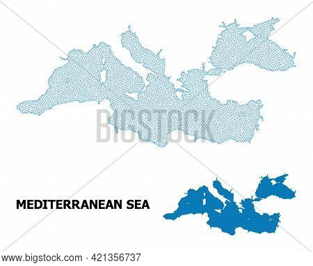 Polygonal Mesh Map Of Mediterranean Sea In High Resolution. Mesh Lines, Triangles And Dots Form Map