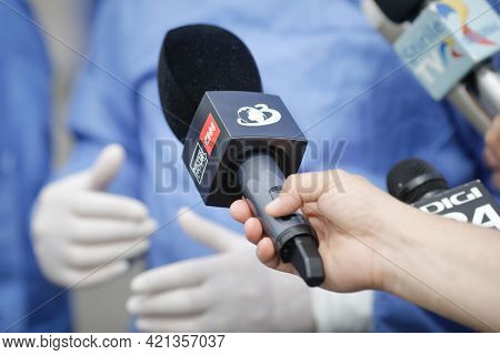 Bucharest, Romania - May 22, 2021: Details With A News Hour With Cnn - Antena 3 News Broadcaster Mic