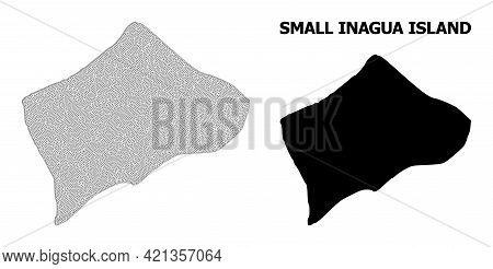 Polygonal Mesh Map Of Small Inagua Island In High Detail Resolution. Mesh Lines, Triangles And Dots