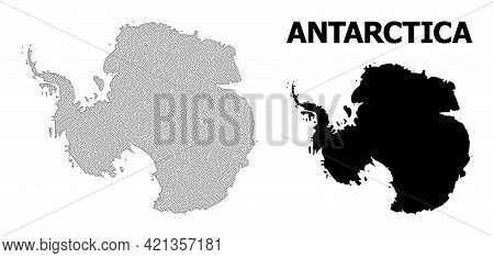 Polygonal Mesh Map Of Antarctica In High Detail Resolution. Mesh Lines, Triangles And Dots Form Map