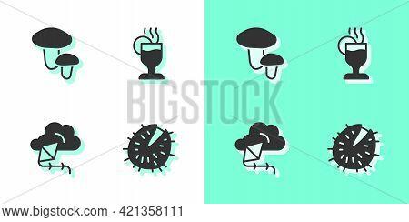 Set Chestnut, Mushroom, Kite And Mulled Wine Icon. Vector