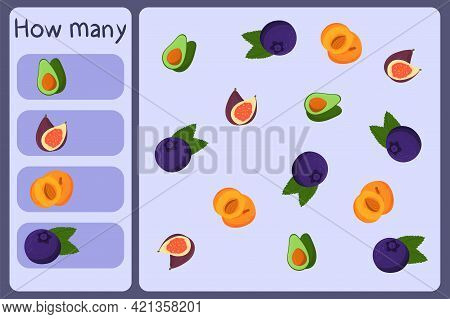 Kids Mathematical Mini Game - Count How Many Fruits - Avocado, Fig, Apricot, Blueberry. Educational