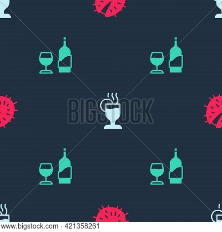 Set Chestnut, Mulled Wine And Wine Bottle With Glass On Seamless Pattern. Vector