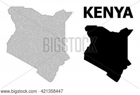 Polygonal Mesh Map Of Kenya In High Resolution. Mesh Lines, Triangles And Points Form Map Of Kenya.