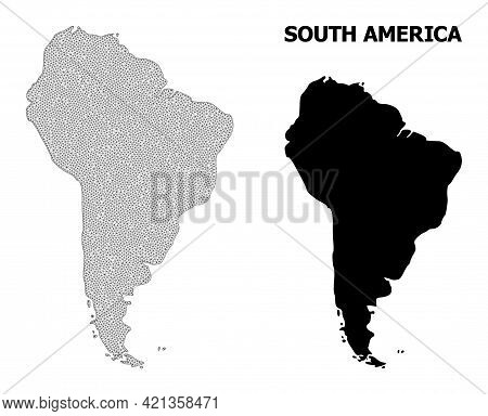 Polygonal Mesh Map Of South America In High Resolution. Mesh Lines, Triangles And Points Form Map Of