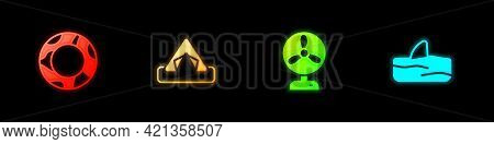 Set Rubber Swimming Ring, Tourist Tent, Electric Fan And Shark Fin Ocean Wave Icon. Vector