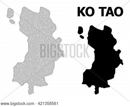 Polygonal Mesh Map Of Ko Tao In High Detail Resolution. Mesh Lines, Triangles And Points Form Map Of