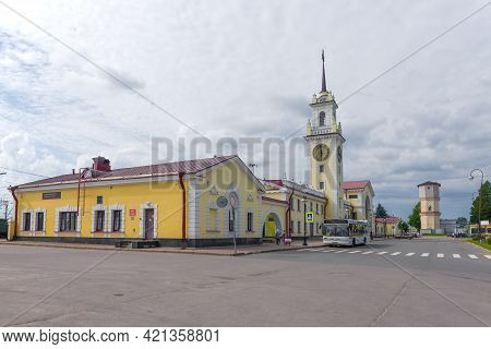 Volkhov, Russia - August 09, 2020: View Of The Railway Station Building Of Volkhovstroy-1 Station On