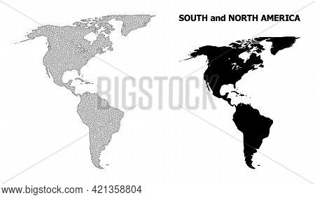 Polygonal Mesh Map Of South And North America In High Resolution. Mesh Lines, Triangles And Points F
