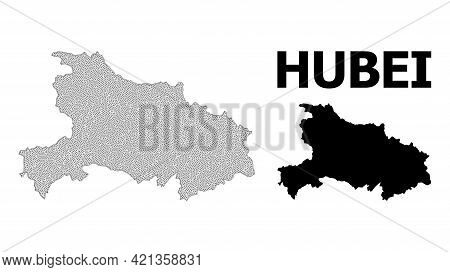 Polygonal Mesh Map Of Hubei Province In High Resolution. Mesh Lines, Triangles And Points Form Map O