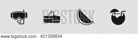 Set Diving Mask, Shark Fin Ocean Wave, Watermelon And Coconut Cocktail Icon. Vector