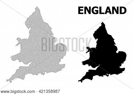 Polygonal Mesh Map Of England In High Resolution. Mesh Lines, Triangles And Dots Form Map Of England
