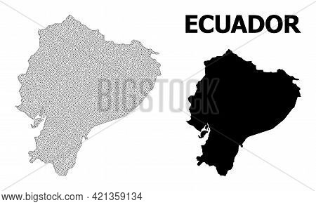 Polygonal Mesh Map Of Ecuador In High Detail Resolution. Mesh Lines, Triangles And Points Form Map O