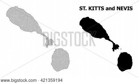 Polygonal Mesh Map Of Saint Kitts And Nevis In High Detail Resolution. Mesh Lines, Triangles And Dot