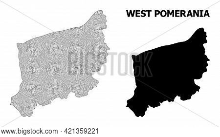 Polygonal Mesh Map Of West Pomerania Province In High Resolution. Mesh Lines, Triangles And Dots For