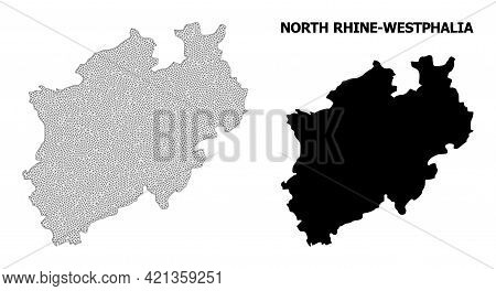 Polygonal Mesh Map Of North Rhine-westphalia State In High Detail Resolution. Mesh Lines, Triangles