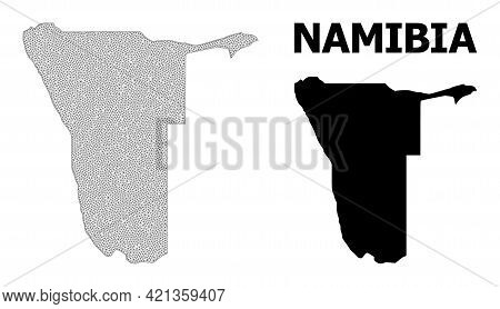 Polygonal Mesh Map Of Namibia In High Detail Resolution. Mesh Lines, Triangles And Points Form Map O