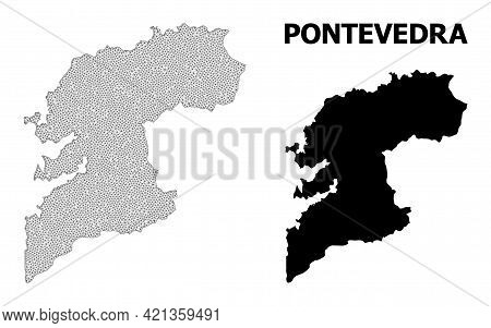 Polygonal Mesh Map Of Pontevedra Province In High Detail Resolution. Mesh Lines, Triangles And Point
