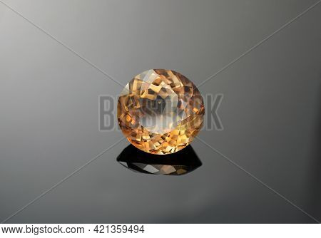 Natural Light Brown Imperial Color Round Faceted Loose Topaz Gemstone Setting For Making Jewelry. He