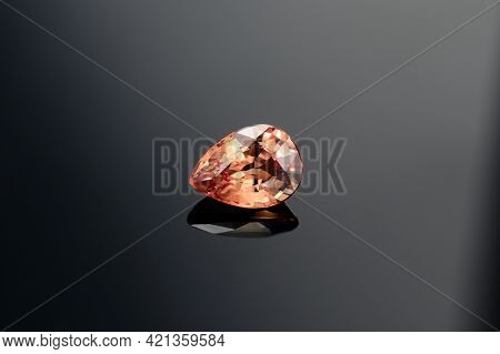 Natural Mined Drop Faceted Peach Color Sapphire Loose Gemstone Setting For Jewelry Making. Clean, Ge