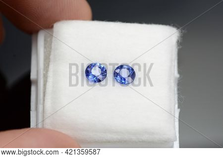 Natural Round Blue Sapphires Matched Pair. Small Rich Blue Precious Gemstones For Making Earrings. P