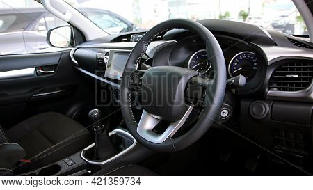 The Steering Wheel Of A Modern Car.