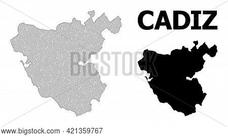 Polygonal Mesh Map Of Cadiz Province In High Detail Resolution. Mesh Lines, Triangles And Points For