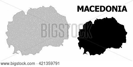 Polygonal Mesh Map Of Macedonia In High Detail Resolution. Mesh Lines, Triangles And Dots Form Map O